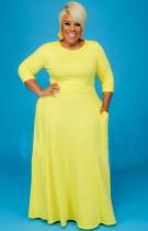 Conjunto de falda larga y top corto amarillo de manga larga de talla grande de otoño