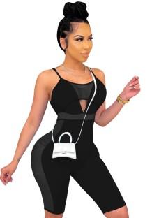Sommer Bodycon Strampler mit schwarzem Patch und sexy Trägern Strap