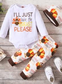 Set di pantaloni 3 pezzi con stampa autunnale per neonato