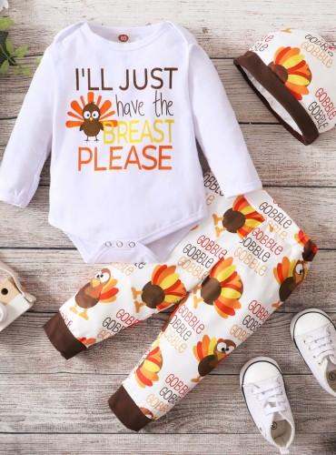 Ensemble pantalon 3 pièces imprimé automne bébé garçon