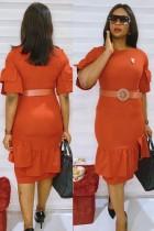 Summer Professional Orange Office Dress with Belt