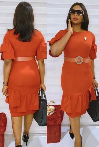 Robe de bureau orange professionnelle d'été avec ceinture