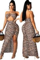 Sommer Sexy Leopard Print Cut Out Schlitz Neckholder Langes Kleid