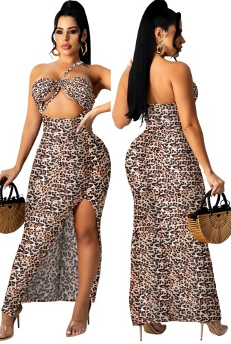 Verano sexy estampado de leopardo recortado corte halter vestido largo