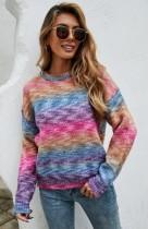 Pullover regolare con scollo a O con stampa arcobaleno autunnale