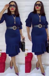 Летнее профессиональное синее офисное платье с поясом