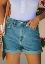 Summer Blue Regular Denim Shorts