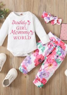 Conjunto de calças de 3 peças florais de outono para bebê menina