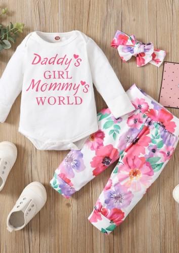 Baby Mädchen Herbst Geblümtes 3-teiliges Hosenset