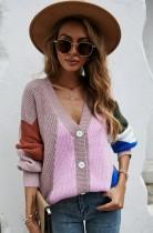 Cappotto maglione a maniche lunghe con scollo a V color block autunnale