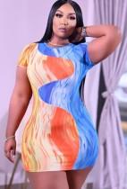 Summer Plus Size Print Sexy Mini Bodycon Dress