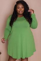 Autumn Plus Size Casual Green Long Sleeve Shirt Dress