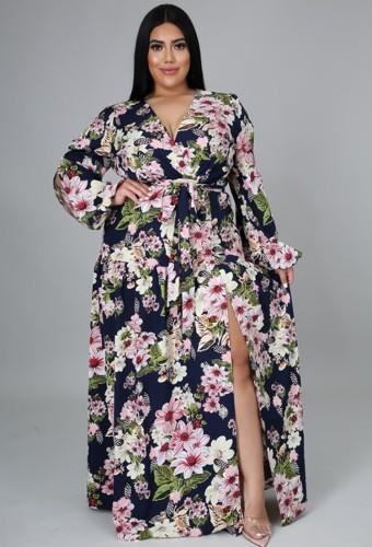 Robe longue longue fleurie enveloppante d'automne de grande taille