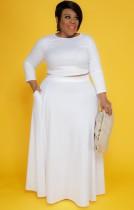 Conjunto de falda larga y top corto de manga larga blanca de talla grande de otoño