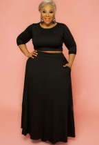 Conjunto de falda larga y top corto de manga larga negro de talla grande de otoño