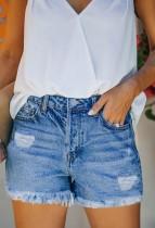 Summer Blue Tassels Denim Shorts