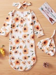 Conjunto de saco de dormir floral de outono para bebê menina com 3 peças