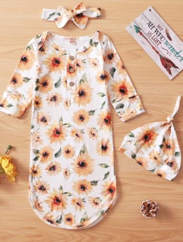 Baby Mädchen Herbst Blumen 3-teiliges Schlafsack-Set Bag