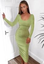 Sonbahar Günlük Yeşil Uzun Kol Dantelli Midi Elbise