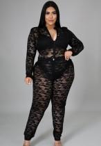 Herbst Plus Size Schwarze Spitze Sexy Bodysuit und Hosen Set