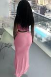 Conjunto de falda larga y top corto con cordones fruncidos en rosa de verano