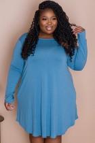 Autumn Plus Size Casual Blue Long Sleeve Shirt Dress