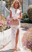 Yaz Resmi Beyaz Dantel Kolsuz Yarık Uzun Elbise