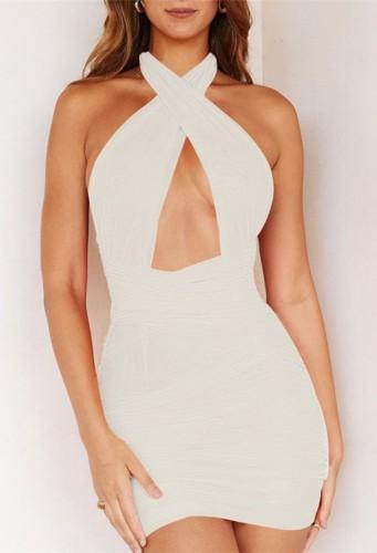 Mini vestido de club con cuello halter cruzado sexy blanco de verano