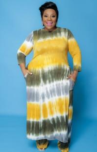 Sonbahar Büyük Beden Batik Yırtmaçlı Uzun Gömlek ve Pantolon Takım