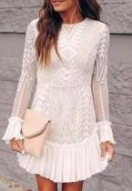 Vestido de fiesta de sirena de encaje blanco formal de otoño con mangas completas