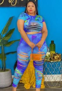 Yaz Büyük Beden Batik Seksi Yırtık Kırpma Üst ve Pantolon Takım