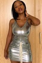 Summer Grey Metallic Sexy Strap Tank Dress