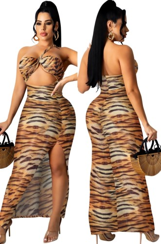 Vestido largo con cuello halter y abertura con estampado de tigre sexy de verano