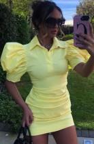 Sommer Gelbes Hemdblusenkleid mit Puffärmeln