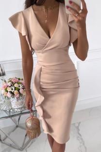Летнее профессиональное розовое офисное платье с рюшами