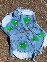 Sommerblaue High Cut Sexy Hearts Denim Shorts
