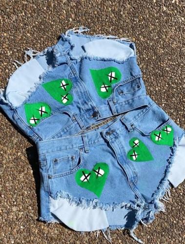 Summer Blue High Cut Sexy Hearts Denim Shorts