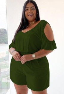 Plus Size Summer Blue Casual Rompers with Cut Out Shoulders