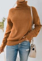 Maglione a maniche lunghe regolare a collo alto tinta unita autunno