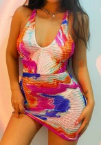 Summer Multicolor Sexy Halter Mini Dress
