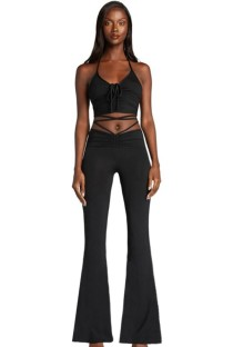 Summer Black Basic Ruched Halter Crop Top and Bell Trousers Set
