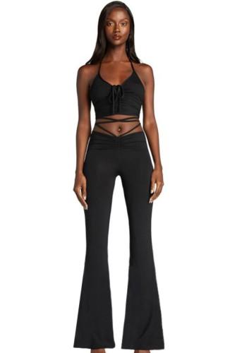 Conjunto de pantalón de campana y top corto con cuello halter y fruncido básico de verano negro