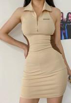 Mini vestido colar sin mangas con bloque de color casual de verano