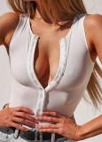 Body basic senza maniche con bottoni a costine bianco estivo