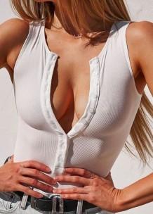 Summer White Ribbed Button Up Sleeveless Basic Bodysuit