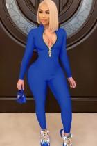 Herbst Blau Reißverschluss Langarm Basic Bodycon Jumpsuit