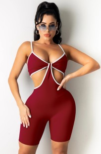 Summer Red Sexy Cut Out Strap Bodycon Rompers
