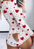 Pagliaccetti a maniche lunghe con stampa cuore d'autunno Homewear