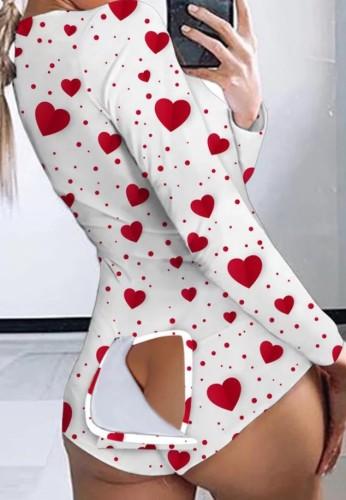 Barboteuses à manches longues à imprimé coeur d'automne