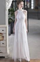 Vestido noturno ocasional de lantejoulas branco com remendo de malha de malha de verão